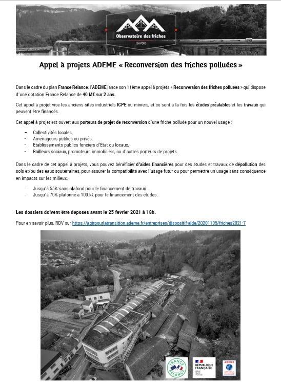 Appel à Projet ADEME «Reconversion des friches polluées»